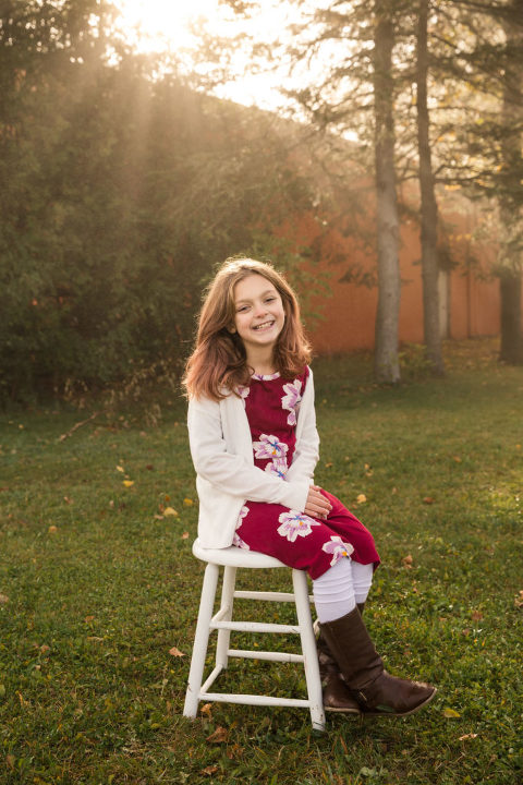 Filtered light rays during fall portrait