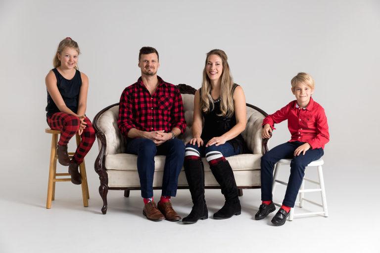 Buffalo plaid wearing family
