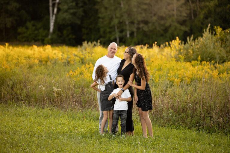 Family of 5 in golden light